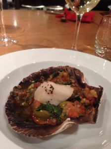 Baked Scallops with Sauce Vierge. We went a little overboard on the tarragon, but it was still delicious.