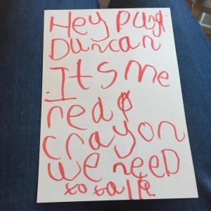 R's letter to Duncan from Red Crayon