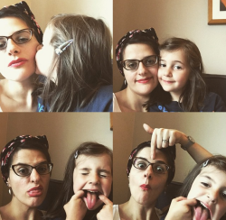 Mother and daughter make faces. There is also a lipstick in here somewhere.